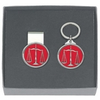 Scales of Justice Red Money Clip & Key Chain Pewter Gift Set