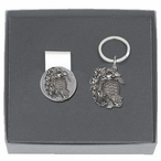 Sea Turtle Money Clip & Key Chain Gift Set with Pewter Accents