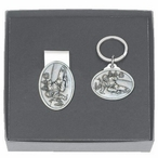 Skier Oval Money Clip & Key Chain Gift Set with Pewter Accents