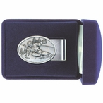 Skier Oval Steel Money Clip with Pewter Accent