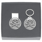 Skull and Bones Money Clip & Key Chain Gift Set with Pewter Accents