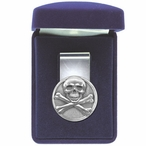 Skull and Bones Steel Money Clip with Pewter Accent