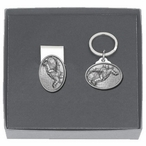 Snowboarder Money Clip & Key Chain Gift Set with Pewter Accents