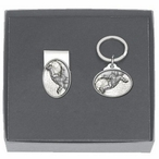 Snowboarder White Money Clip & Key Chain Gift Set with Pewter Accents