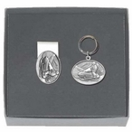 Snowmobile Money Clip & Key Chain Gift Set with Pewter Accents