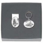 Snowmobile White Money Clip & Key Chain Gift Set with Pewter Accents