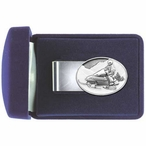 Snowmobile White Steel Money Clip with Pewter Accent