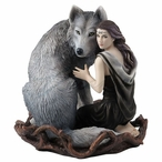 Soul Bond Wolf and Woman Sculpture by Anne Stokes