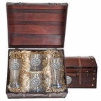 South Carolina Gamecocks Logo Pewter Accent Beer Chest Box Set