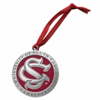 South Carolina Gamecocks Logo Red Pewter Accent Ornaments, Set of 2