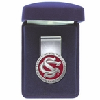 South Carolina Gamecocks Logo Red Pewter Accent Steel Money Clip
