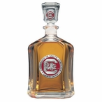 South Carolina Gamecocks Red Capitol Glass Decanter w/ Pewter Accents