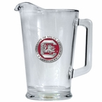 South Carolina Gamecocks Red Glass Pitcher with Pewter Accent