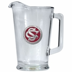 South Carolina Gamecocks Red Logo Glass Pitcher with Pewter Accent