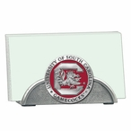 South Carolina Gamecocks Red Metal Business Card Holder with Pewter