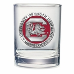 South Carolina Gamecocks Red Pewter Accent DOF Glasses, Set of 2