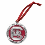 South Carolina Gamecocks Red Pewter Accent Ornaments, Set of 2
