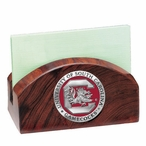 South Carolina Gamecocks Red Wood Business Card Holder with Pewter