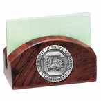 South Carolina Gamecocks Wood Business Card Holder with Pewter Accent