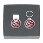 South Carolina Logo Red Pewter Accent Money Clip & Key Chain Gift Set