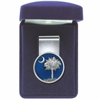 South Carolina Palmetto #2 Blue Steel Money Clip with Pewter Accent