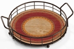 Southwest Navajo Red Metal and Wood Serving Trays, Set of 2