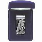 Standing Grizzly Bear Steel Money Clip with Pewter Accent