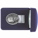 Standing Moose Steel Money Clip with Pewter Accent