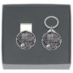 State of Texas Money Clip & Key Chain Gift Set with Pewter Accents