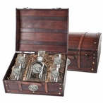 Stephen F Austin Lumberjacks Pewter Accent Capitol Decanter Chest Set