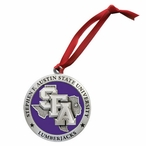 Stephen F Austin Lumberjacks Purple Pewter Accent Ornaments, Set of 2