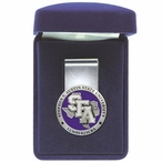 Stephen F Austin Lumberjacks Purple Pewter Accent Steel Money Clip
