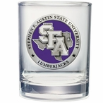 Stephen F Austin Lumberjacks Purple Pewter DOF Glasses, Set of 2
