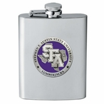 Stephen F Austin Lumberjacks Purple Stainless Steel Flask with Pewter