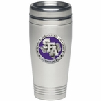 Stephen F Austin Lumberjacks Purple Travel Mug with Pewter Accent