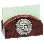 Stephen F Austin Lumberjacks Wood Business Card Holder with Pewter