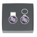 Stephen F Austin Purple Pewter Accent Money Clip & Key Chain Gift Set
