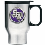 Stephen F Austin Purple Travel Mug with Handle & Pewter Accent