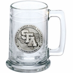 Stephen F Austin University Lumberjacks Pewter Accent Glass Beer Mug