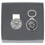 Sunface Money Clip & Key Chain Gift Set with Pewter Accents