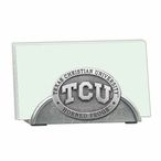 Texas Christian Horned Frogs Metal Business Card Holder with Pewter