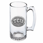 Texas Christian Horned Frogs Pewter Accent Glass Super Beer Mug