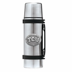 Texas Christian Horned Frogs Pewter Accent Stainless Steel Thermos