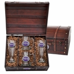 Texas Christian Horned Frogs Purple Pewter Accent Beer Chest Box Set