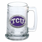 Texas Christian Horned Frogs Purple Pewter Accent Glass Beer Mug