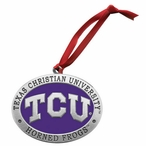 Texas Christian Horned Frogs Purple Pewter Accent Ornaments, Set of 2