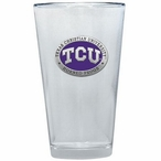 Texas Christian Horned Frogs Purple Pewter Pint Beer Glasses, Set of 2