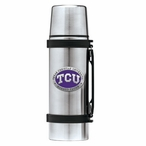 Texas Christian Horned Frogs Purple Pewter Stainless Steel Thermos
