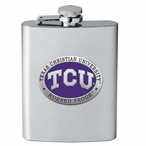 Texas Christian Horned Frogs Purple Stainless Steel Flask with Pewter