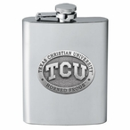 Texas Christian Horned Frogs Stainless Steel Flask with Pewter Accent